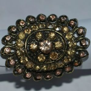 Fashion Ring One Size Yellow Brown Rhinestone